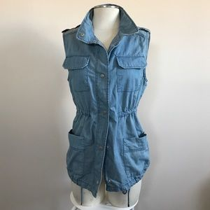 Chambray Utility Vest with Drawstring